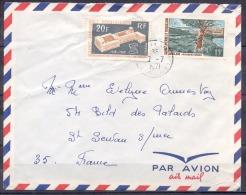 SAINT PIERRE ET MIQUELON   Lettre  Juillet 1971      2 Timbres   LANGLADE Et  50eme ANN O.I.T Pour ST SERVAN  PAR AVION - St.Pierre Et Miquelon
