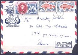 SAINT PIERRE ET MIQUELON   Lettre  En  POSTE AERIENNE  Le 5 5 1972  Avec 3 Timbres  Pour SAINT SERVAN  S MER - Poste Aérienne
