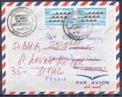 SAINT PIERRE ET MIQUELON   Lettre  Le 13 Oct 1970  Timbre Champt Du Monde Aviron BANDE De 2  P.J Pour ST SERVAN S MER - St.Pierre Et Miquelon