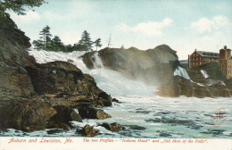 """( CPA ÉTATS UNIS )  AUBURN AND LEWISTON  /  The Two Profiles - """" Indians Head """" And,, Old Man Of The Falls """".  - - Lewiston"""