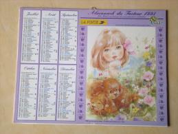 Calendrier ALMANACH DU FACTEUR PTT - 1993 - Enfants Chiens Chats - OLLER - Nord 59 - Très Bon état - Calendari