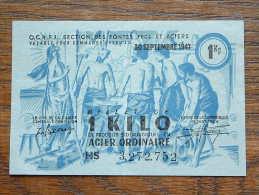 Billet De 1 Kilo De Produits Sidérurgiques En Acier Ordinaire 30 Septembre 1947 - HS 3,272,752 ( Please See Photo ) ! - Altri