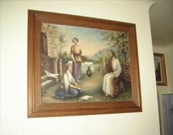 """1927  FURST   """"Jésus ,Marthe Et Marie ? """" Grande  Huile Sur Toile - Oils"""
