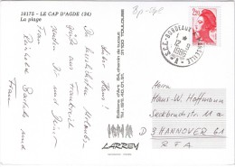 "(A066) Ansichtskarte LE CAP D'AGDE, Frankreich Bahnpost ""BORDEAUX-MARSEILLE"" Nach Hannover 1986 - France"
