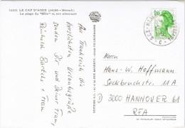 "(A067) Ansichtskarte LE CAP D´AGDE, Frankreich Bahnpost ""MARSEILLE-BORDEAUX"" Nach Hannover 1985 - France"