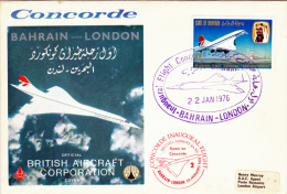 Enveloppe 1° Liaison  BAHRAIN-LONDON    CONCORDE   22/1/76 - Concorde