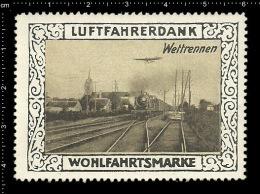 Original German Poster Stamp (cinderella Reklamemarke) Luftfahrerdank Aviation Airplane Flugzeug Zug Train - Airplanes