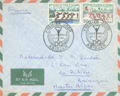 Cote D´Ivoire 1961 Abidjan Sports Swimming Basketball FDC Cover To France - Pallacanestro