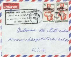 Cote D´Ivoire 1965 Treichville To USA FFC First Flight PANAM Next Day Special Cachet Cover - Ivoorkust (1960-...)