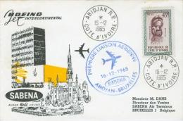 Cote D´Ivoire 1965 Abidjan To Belgium FFC First Flight SABENA Special Cachet Cover - Ivoorkust (1960-...)