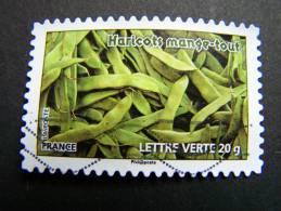 FRANCE OBLITERE  2012 N° 745 HARICOTS MANGE-TOUT SERIE DU CARNET DES LEGUMES POUR UNE LETTRE VERTE AUTOCOLLANT ADHESIF - France