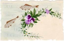 Cpa Fantaisie, Peinte Main, Poissons, Fleurs - Autres