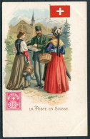 La Poste En Suisse - Switzerland Stamp, Flag, Milkmaid & Postman - Postal Services
