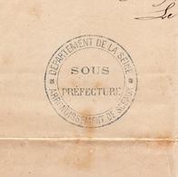 Sous Préfecture Département De La Seine Sceaux 1871 Cachet  Contre Seing Husson Dallain - Postmark Collection (Covers)