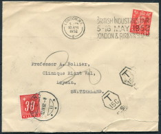 1952 GB London Royal National Orthopaedic Hospital - Leysin Switzerland Postage Due Surcharge Instructional Cover - 1902-1951 (Kings)