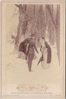 KABINETTFOTO Um 1890, Gemälde: Ein Abschied Von Robert Haug, Soldat In Uniform Pferd, Frau Mit Muff Und Schirm Im Schnee - Krieg, Militär