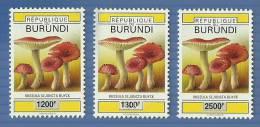 bur0703 Burundi 2007 Mushroom 3v OVPT