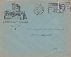 """193 Op Brief Met Stempel BRUXELLES, Met Hoofding """"L'INDEPENDANCE / PUBLICITE"""" - 1922-1927 Houyoux"""