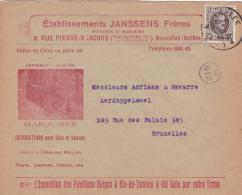 """196 Op Brief Met Stempel MOLENBEEK, Met Hoofding """"DRAPEAUX-PLANTES-MARQUISES-DECORATIONS"""" - 1922-1927 Houyoux"""