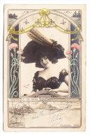 ARTISTE _ Art Nouveau _ E De Vere _ Photo REUTLINGER _ Chapeau _ Plumes _ Colorisée - Artistas