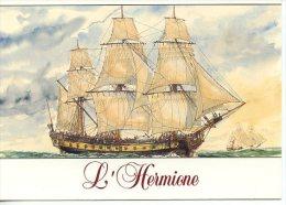 Rochefort Sur Mer : Frégate Hermione 1779 (Lafayette Indépendance) Aquarelle Jean Bellis (transport Guerre Voilier) - Rochefort