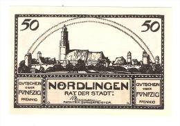 **notgeld Nördlingen    50 PF      978.13/1 + 2 Catalog Val 4,00 Euro - [11] Local Banknote Issues