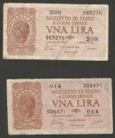 ITALIA 1 Lira - Italia Laureata (2 Banconote) - Firme: Ventura / Simoneschi / Giovinco) Luogotenenza - [ 1] …-1946 : Regno