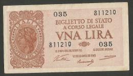 ITALIA 1 Lira - Italia Laureata - (Firme: Ventura / Simoneschi / Giovinco) Luogotenenza - [ 1] …-1946 : Regno