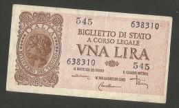 ITALIA 1 Lira - Italia Laureata - (Firme: Di Cristina / Cavallaro / Parisi) - Luogotenenza - [ 1] …-1946 : Regno