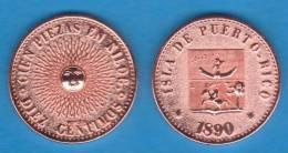 PUERTO RICO (Colonia Española/Spanish Colony) 10 Céntimos 1.890 Cobre SC/UNC KM#Pn1 Replica SC/UNC  T-DL-10.148 D.I. P.r - Puerto Rico