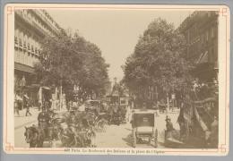 Foto ~1890 France Paris Le Boulvard Des Italiens Et La Place De L'Opera # Kutschen - Photos