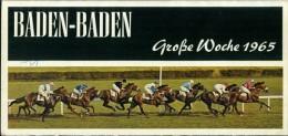 Programmheft Baden-Baden Iffezheim Große Woche 1965 Pferde-Rennsport - Reiten