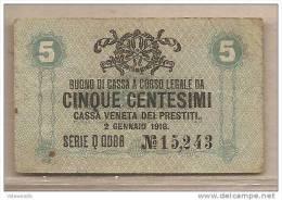 Italia - Buono Di Cassa Da 5 Centesimi Circolato Cassa Veneta Dei Prestiti - 1918 - Buoni Di Cassa