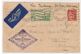 FRANCE - 1937 AIR FRANCE 1en VOYAGE AEROMARITIME Via TOULOUSE-DAKAR- COTONOU From ROCHEFORT S/MER To DAHOMEY - Frankreich
