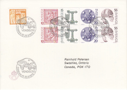 Sweden FDC Scott #1115a, Booklet Pane Of 8, #1116 Archaeological Treasures - FDC