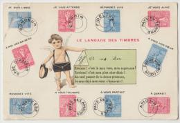 Cpa Le Langage Des Timbres Semeuse Et Postier Angelot - Stamps (pictures)