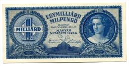 Hongrie Hungary Ungarn 1.000.000.000 MilPengo 1946 AUNC / UNC # 5 - Hongrie