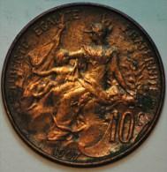10 CENTIMES BRONZE DUPUIS 1907 TB+ - D. 10 Centimes
