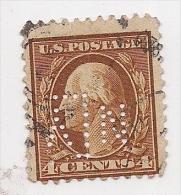 U.S.A. 2¢brown Perfin Washington VFU 1890-1895 Approx - 1847-99 General Issues