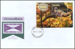 Grenada Grenadines 2005 Souvenir Sheet Dinosaur Prehistoric #2579-Tentosaurus First Day Cover - Grenada (1974-...)