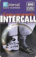 CARTE-PREPAYEE-INTERCALL- 100F-UNIVERSELLE-CHAUSSUR RES-V° CODE N°NOIR /FOND BLANC -31/12/2002-T B E-RARE - France