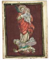 """IMAGE RELIGIEUSE Sur Vélin, Colorisée, 11,9 X 9,3 Cm, """"Vir Mariae De Qua Natus Est Jesus"""" - Devotieprenten"""