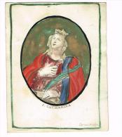 "IMAGE RELIGIEUSE Sur Vélin, Colorisée, 12 X 9,5 Cm, ""S Catharina"" Signée Cor Van Merlen - Devotieprenten"