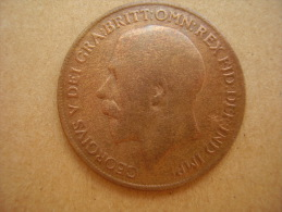 Great Britain 1916 GEORGE V  ONE PENNY  USED POOR CONDITION. - 1902-1971 : Post-Victorian Coins