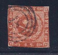 Denmark, Scott # 4 Used Plate 1 Dot After M, 1854 - Oblitérés
