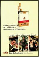 Reklame Werbeanzeige 1968 ,  Krone Zigaretten  -  Beliebt Und Ein Vollkommener Genuß - Raucherutensilien (ausser Tabak)