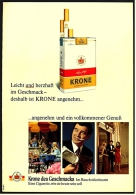 Reklame Werbeanzeige 1968 ,  Krone Zigaretten  -  Angenehm Und Ein Vollkommener Genuß - Raucherutensilien (ausser Tabak)