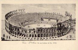 [DC8275] VERONA - L'ARENA - DA UNA INCISIONE DEL SEC. XVIII - IL PONTE DELLE NAVI - Old Postcard - Verona