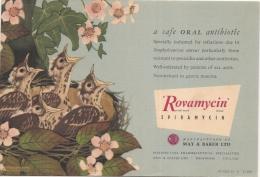 Buvard Pharmacie - ROVAMYCIN -May And Baker - Oisillons Au Nid - - Chemist's
