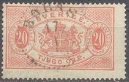 1881 Second Issue 20 Öre Mi 7Ba / Facit TJ18 / Sc O19  / YT 7A Used / Oblitéré / Gestempelt [lie] - Service